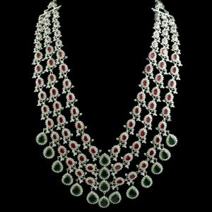 92.5 Sterling Silver Zircon Stone Necklace