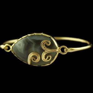 gold Plated Bracelet Studded Agate Stones