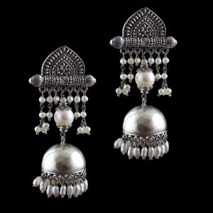 Silver Earring Jhumka Studded  Pearls