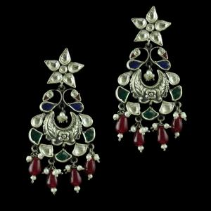 Oxidize Drops Earring Studded Kundan And Red Pearl