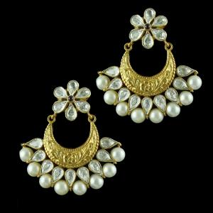 Gold Plated Earring Drops Polki And Pearls