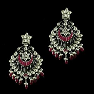 Oxidize Chandbali Earring With Kundan Stone And Pearl