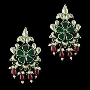 Oxidize kundan Chandbali Earring With Onyx And Pearl