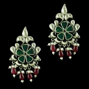 Oxidize kundan Chandbali Earring With Onyx And Pearl