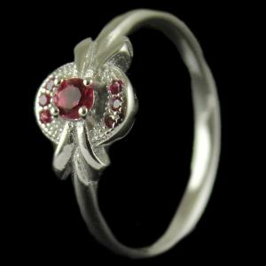 R3837 Sterling Silver Ring Studded Zircon Stone