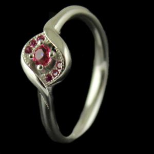 R2504 Sterling Silver Ring Studded Zircon Stone