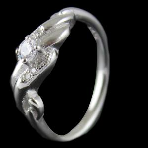 R4557 Sterling Silver Fancy Design Ring Studded Zircon Stones