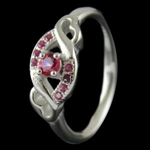 R1087 Sterling Silver Ring Studded Zircon Stone