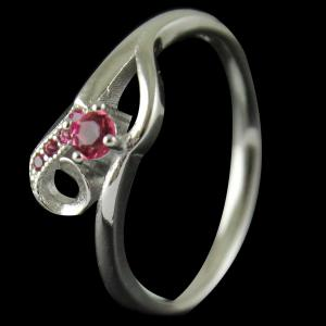 R4608 Sterling Silver Ring Studded Zircon Stone