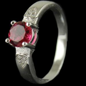 R139 Sterling Silver Ring Studded Zircon Stone