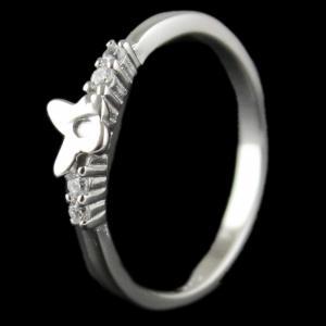 R14757 Sterling Silver Heart Shape Ring Studded Zircon Stone