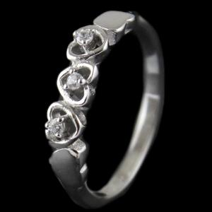 R13297 Sterling Silver Fancy Ring Studded Zircon Stones