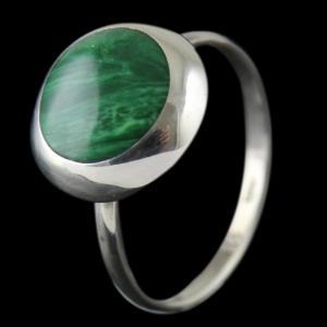 Silver malachite Stone Ring