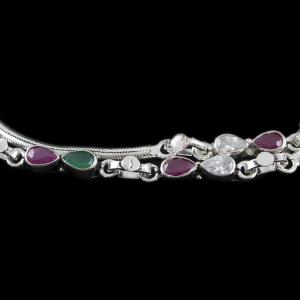 Silver Fancy Anklets Studded With Red And Green Onyx And White Zircon Stone