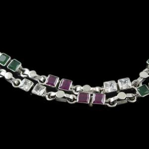 Silver Fancy Anklets Studded With Red And Green Onyx