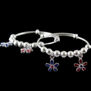 92.5 Silver Baby Anklets Red Enomal