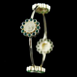 Silver Gold Plated Coin Bangle Studded Green Zircon Stones