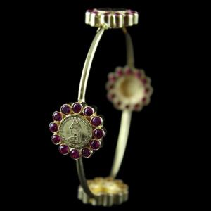 Silver Gold Plated Coin Bangle Studded Red Zircon Stones