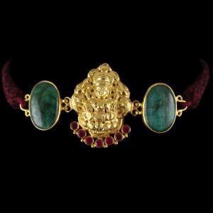 Gold Plated God Design vanki Bajuband Green Onyx Stones And Thra