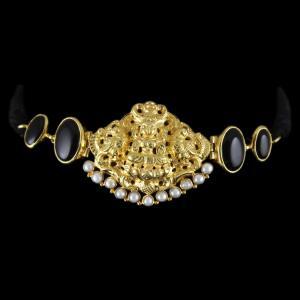 Gold Plated God Design Vanki Bajuband Studded Black Onyx And Pearls