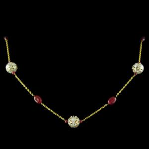 Gold Plated Red Onyx Beats Necklace