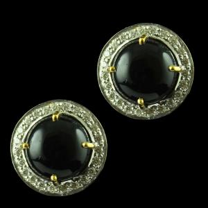 Gold Plated Casual Earring Studded With Black Onyx And Zircon Stone