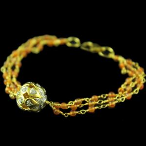 Gold Plated Orange Cut Atti Bracelets With Zircon Stones