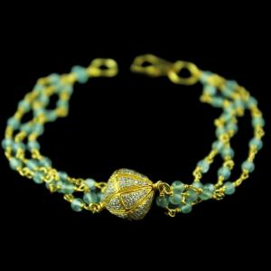 Gold Plated Blue Cut Atti Bracelets With Zircon Stones