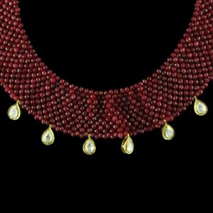 Gold Plated Red Onyx And Polki Punch Necklace