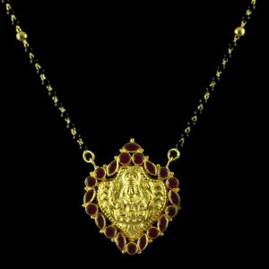 Gold Plated Red Onyx With Black Beads Necklace