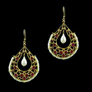 Gold Plated Hanging Earring Studded With Red Onyx