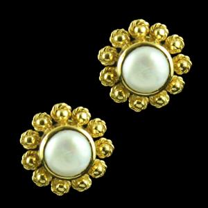Gold Plated Casual Earring Studded With Pearl