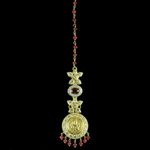Gold Plated Laxmi With Zircon And Red Onyx Tikka