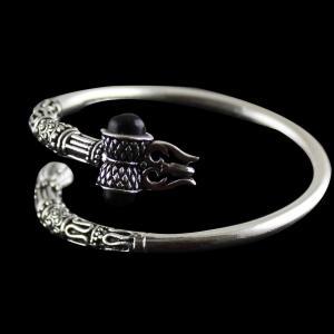 Silver Oxidized kada bangle Studded black Onyx