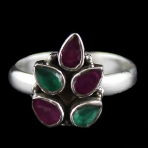 Silver Oxidized Ring Studded Red,Green Onyx