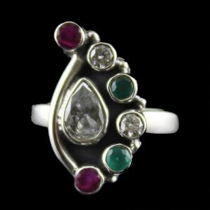 Silver Oxidized Ring Studded red,green Onyx And Zircon