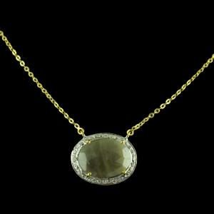 Gold Plated Chain With Sapphire Pendant