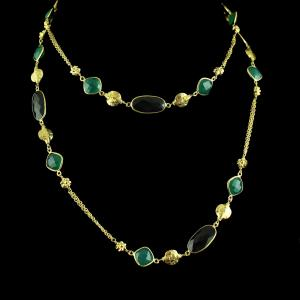 Gold Plated Necklace Studded Green Onyx And Black Onyx