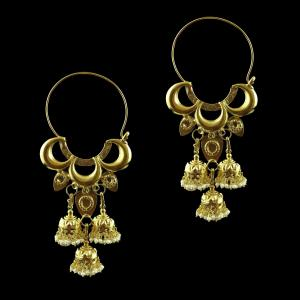 Gold Plated Earring Bali Studded Pearls