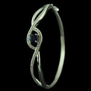 Silver Fancy Bracelet Studded Zircon Stones