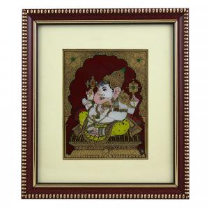 SIDE FACE GANESHA GLASS PAINTING