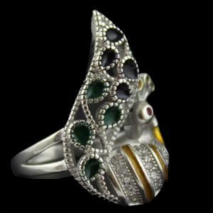 Enamel Peacock Blue Zircon Stone Bridal Ring