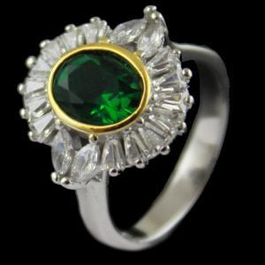 Red Zircon Stone Bridal Ring