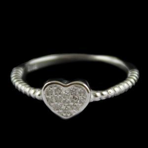 R13242 Sterling Silver Fancy Ring Studded Zircon Stones