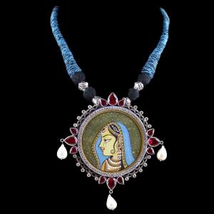 Oxidized Silver Hand Painting Thread Necklace With CZ Red Corund