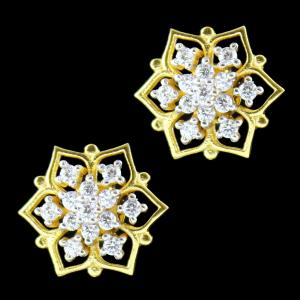GOLD PLATED ZIRCON STONE FLORAL EARRING