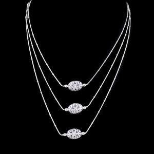Zircon Stone Three Layer Necklace