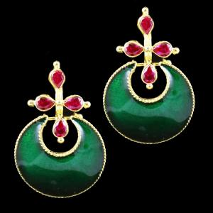Gold Plated Meena And Fancy Floral Chandbali Earrings