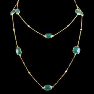 Green Onyx Stone Casual Wear Bezel Chain