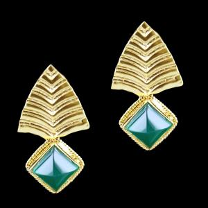 Gold Plated Onyx Stone Pyramid Shape Casual Earring